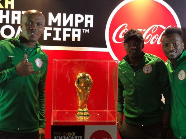 Ahmed Musa And Others Pose With World Cup Trophy In Russia