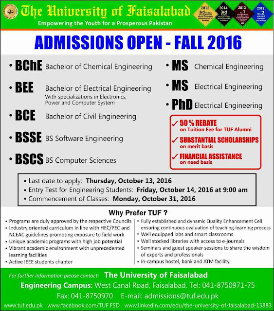 admissions open in The University of Faisalabad
