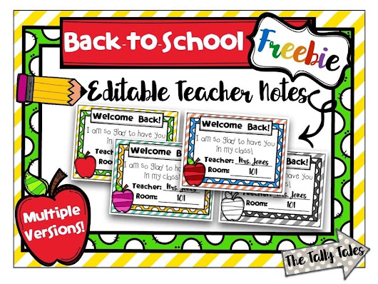 Editable Back-to-School Teacher Notes FREEBIE!