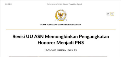 Revisi UU ASN Memungkinkan Pengangkatan Honorer Menjadi PNS, Prioritas Prolegnas 2018