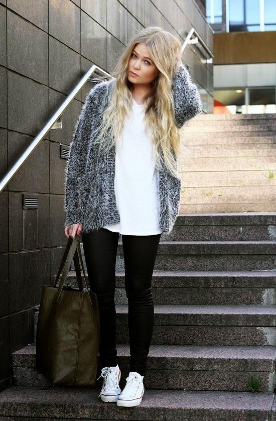 Women's Fashion marled cardigan + white tee + black pants + white converse