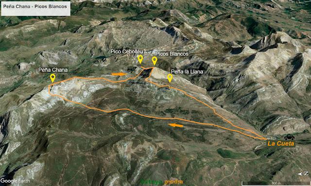 Mapa de la ruta a Peña Chana y Picos Blancos desde La Cueta