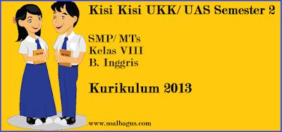 Download/ Unduh kisi kisi penulisan soal ukk/ uas b inggris kelas 8 semester 2/ genap kurikulum 2013 www.soalbagus.com