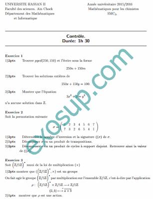 contrôles corrigés mathématiques pour la chimie smc s3 FSAC