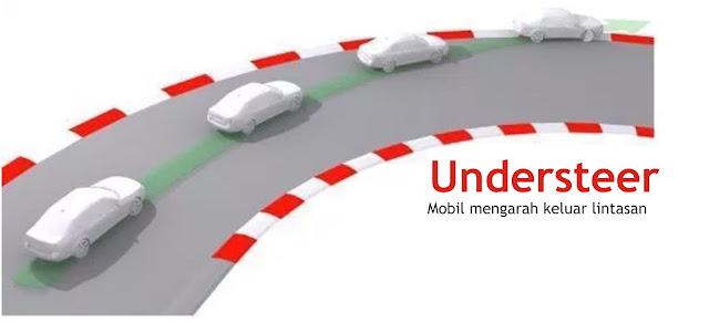 Mobil mengalami understeer pada tikungan