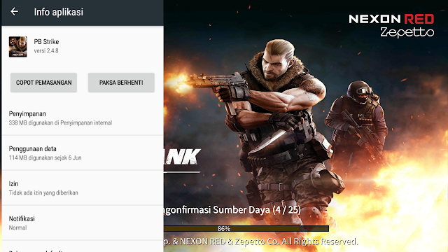 Total Size dan Spesifikasi Minimum game Point Blank : Strike Android