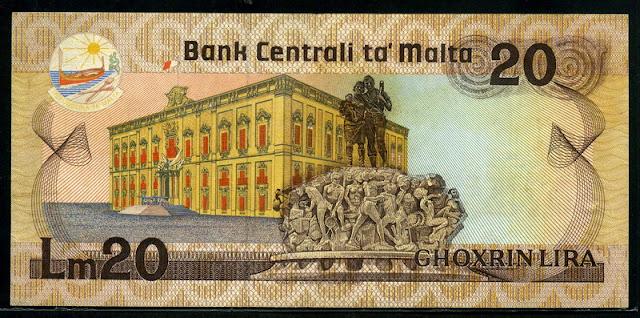Malta currency 20 Maltese lira banknote Grandmaster's Palace