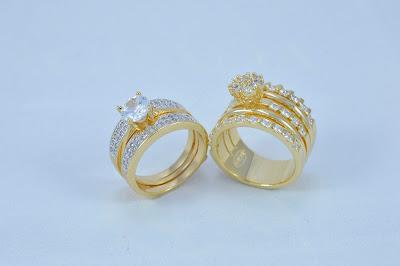 Anéis Solitários Semi-joias Cravejados com Zircônias