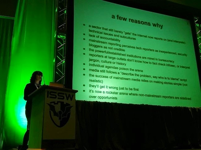 Why do journalists get infosec reporting so wrong? Here are a few reasons, courtesy of @violetblue #ISSW2015