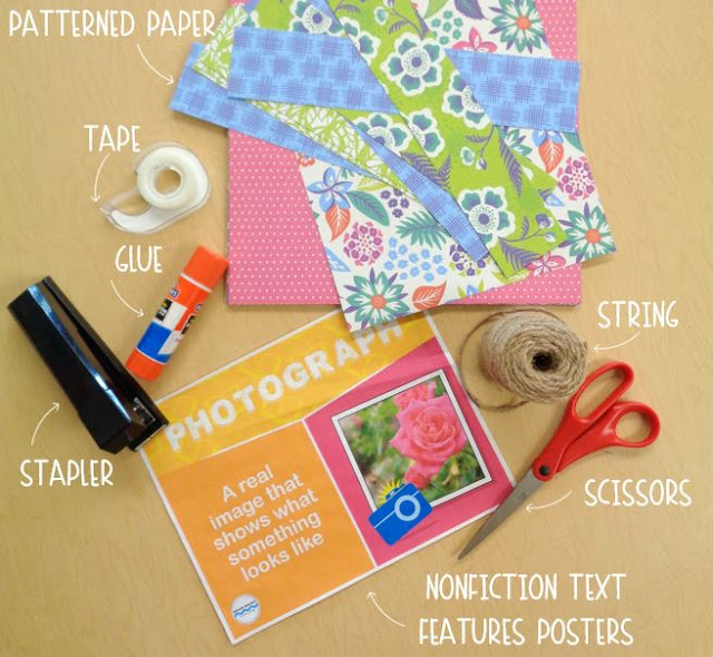 All you need to create a fun nonfiction text features bulletin board are posters, scrapbook paper, glue, string, and a stapler.