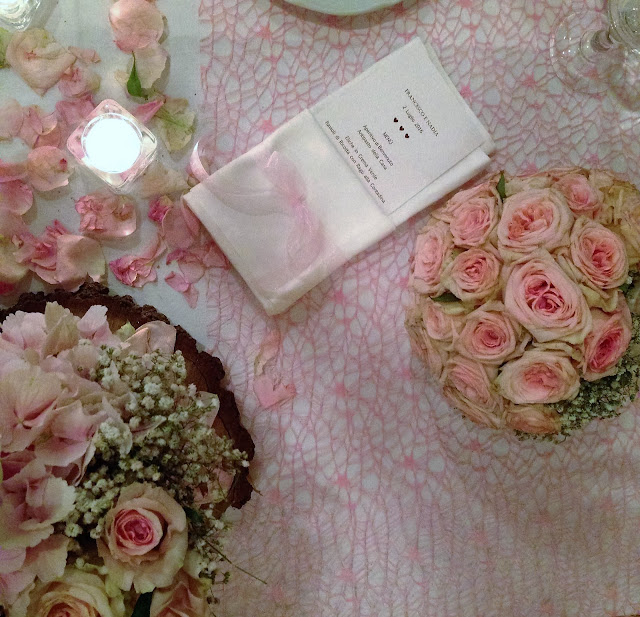 table setting wedding pink