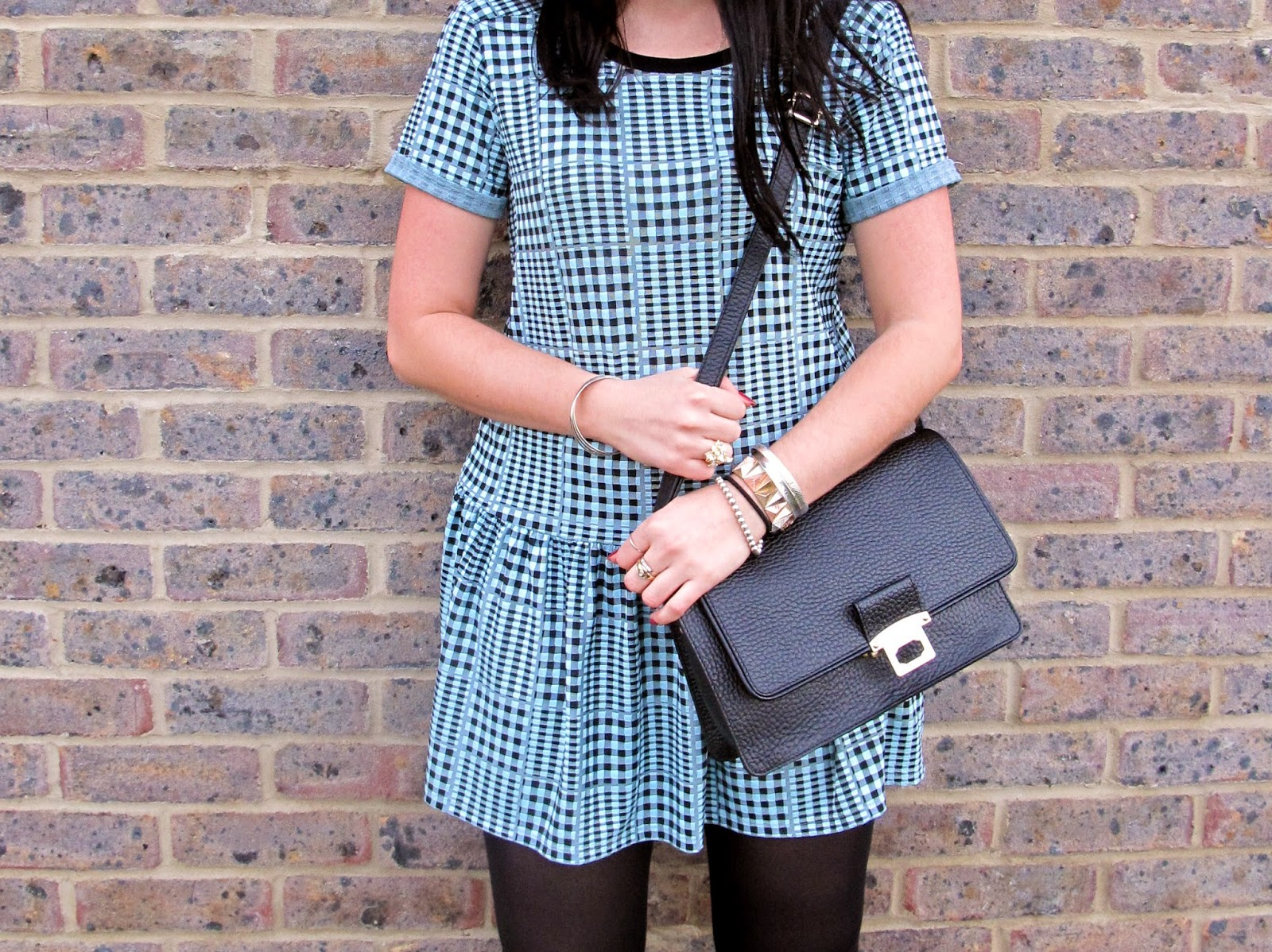 Blue and black Topshop gingham check dress