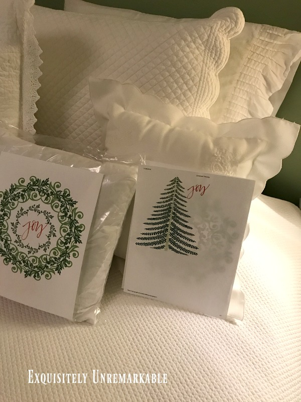 Making A Custom Pillow with wreath and tree printables on bed