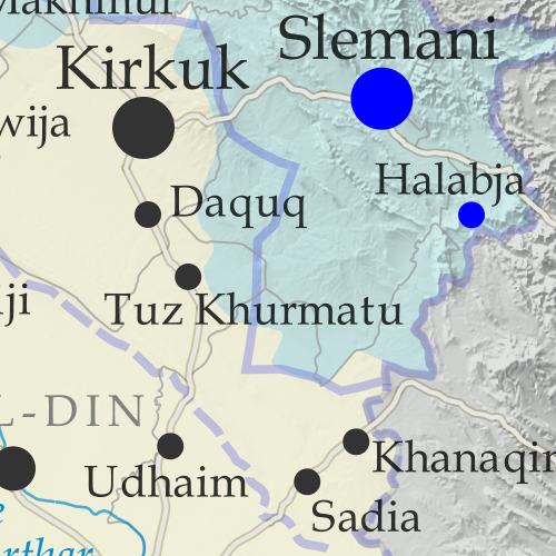 Detailed map of territorial control in Iraq as of February 22, 2018. Shows territory held by the so-called Islamic State (ISIS, ISIL), the Baghdad government, the Kurdistan Peshmerga, and the Yezidi Sinjar Alliance (YBS and YJE). Colorblind accessible.