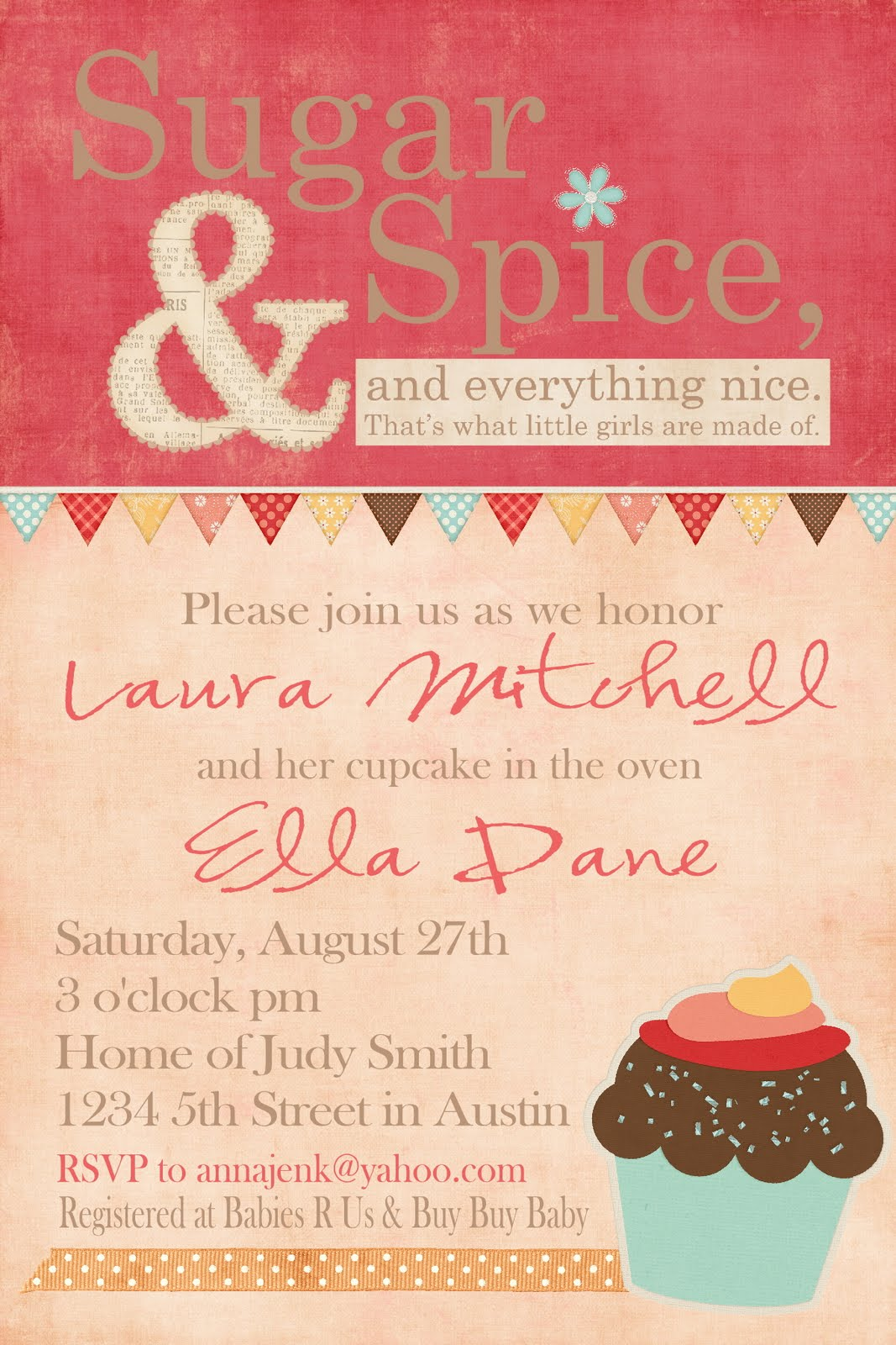 Your Little Birdie Sugar And Spice Baby Shower Invite