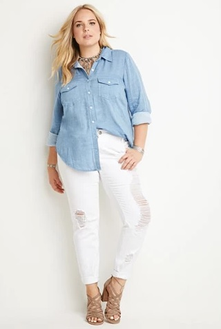 Chambray Button Down Shirt by Forever21 Plus