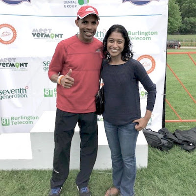 Meb Keflezighi and Tanya Senanayake at Vermont City Marathon