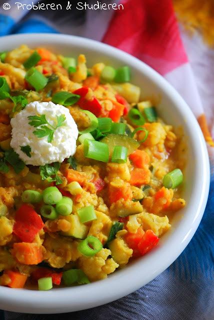 Probieren und Studieren : Curry mit roten Linsen, Zucchini und ...