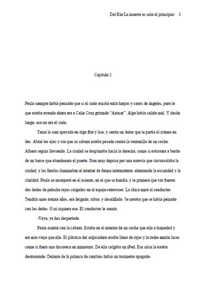 Primera página de La muerte es  solo el principio, de Carlos del Río