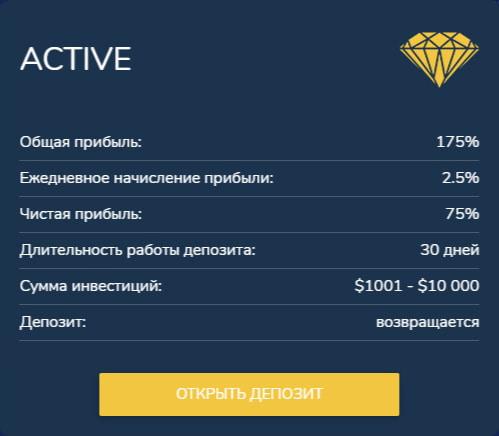 Инвестиционные планы B2B Diamond 2