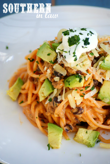 Healthy Taco Spaghetti Recipe - low fat, gluten free, high protein, clean eating, healthy, mexican recipes