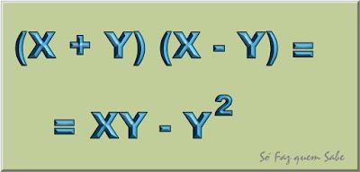 Parte da demonstração de que dois é igual a um. Quadro mostrando que (x+y) (x-y) = xy - y ao quadrado