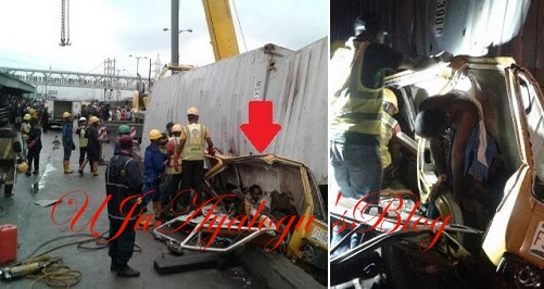 Container falls on two fully loaded commercial buses in Ojota this morning