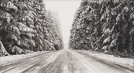 drawing Hans op de Beeck Snow Landscape (road), 2019 Black and white watercolor on Arches paper in wooden frame