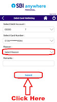 how to block sbi bank atm card