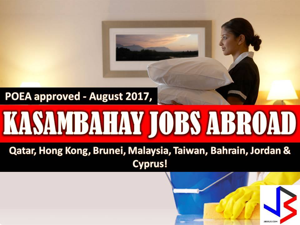Another job opportunities for Filipinos who want to try their luck working in other countries as household workers or domestic helper.  If you are interested, scroll down below to see the list of job orders from the website of Philippine Overseas Employment Administration (POEA).  Please be reminded that we are not a recruitment industry and we are not affiliated to any of the agencies mentioned here below. All the job orders were taken from the POEA jobs order website and were only linked to agency details for easier navigation for the visitors.