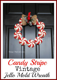 Vintage, Paint and more... a vintage candy stripe wreath made by painting vintage jello molds in the candy stripe motif