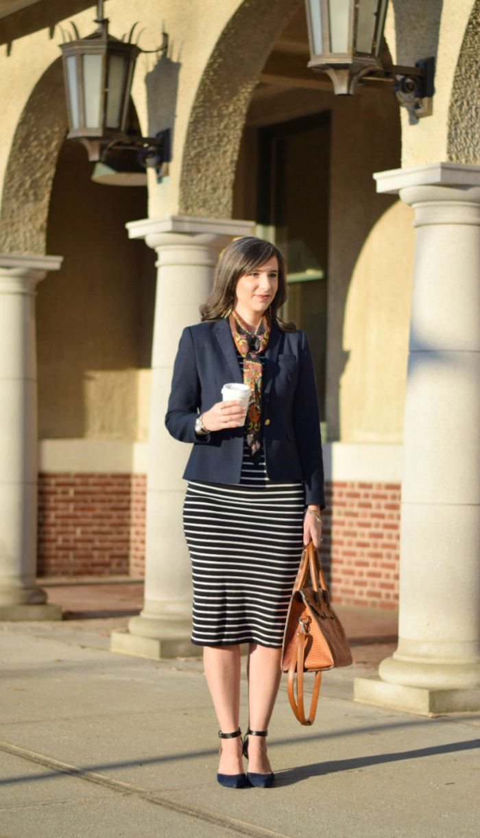 Striped Bodycon Dress with Blazer and Square scarf for the office