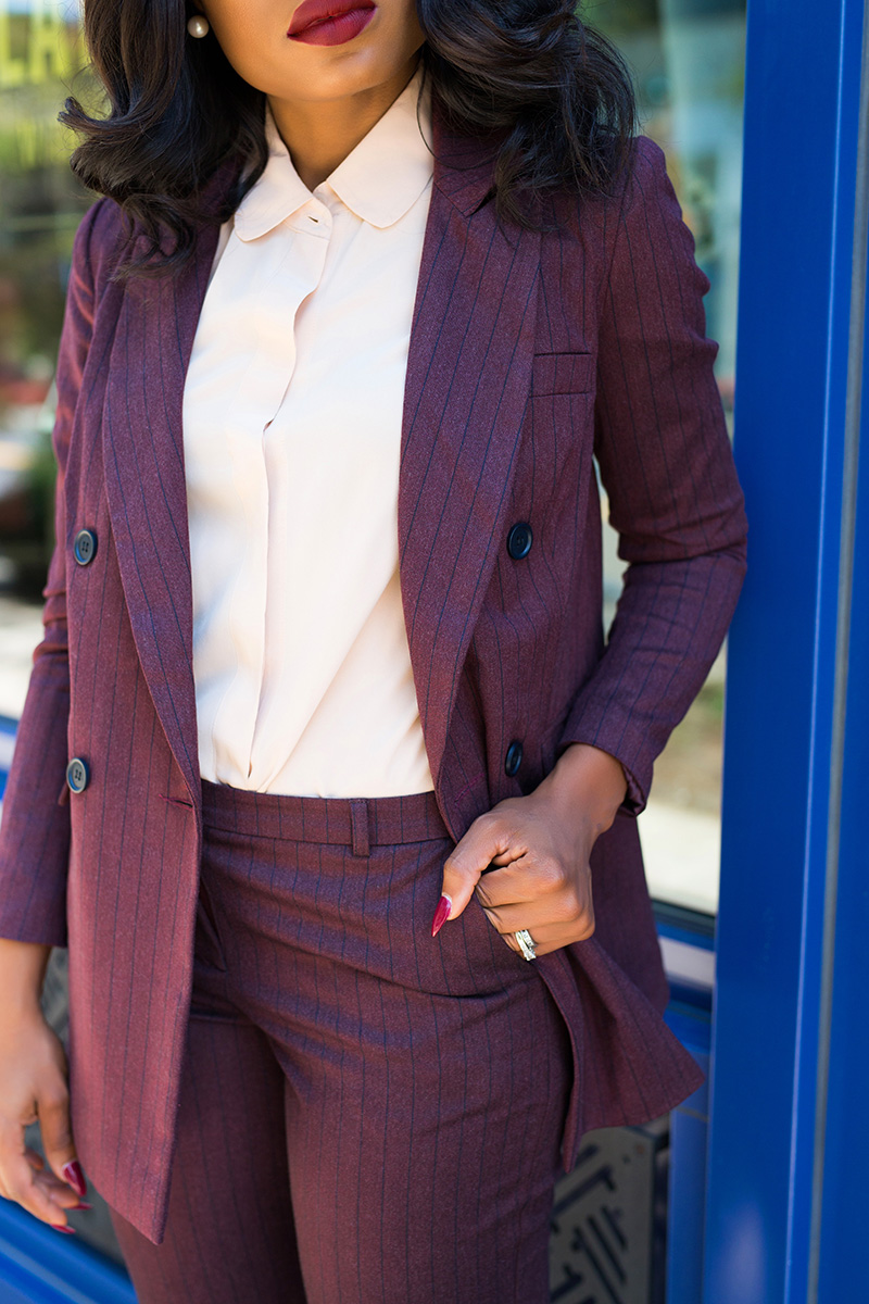 pinstripe burgundy suit, www.jadore-fashion.com
