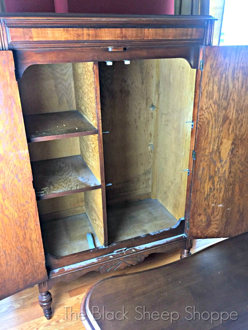 Unfinished interior of vintage armoire chifferobe