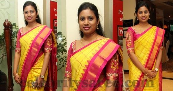 Yellow Pink Stripes Saree In Silk Saree Blouse Patterns