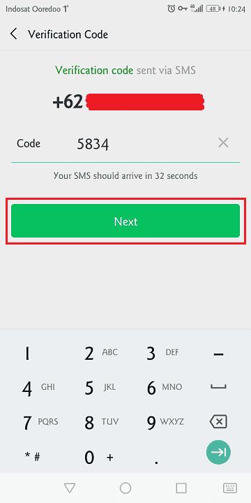 memasukkan kode verifikasi