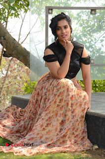 Actress Chetana Uttej Stills in Floral Long Skirt at Pichiga Nachav Movie Press Meet  0084.JPG
