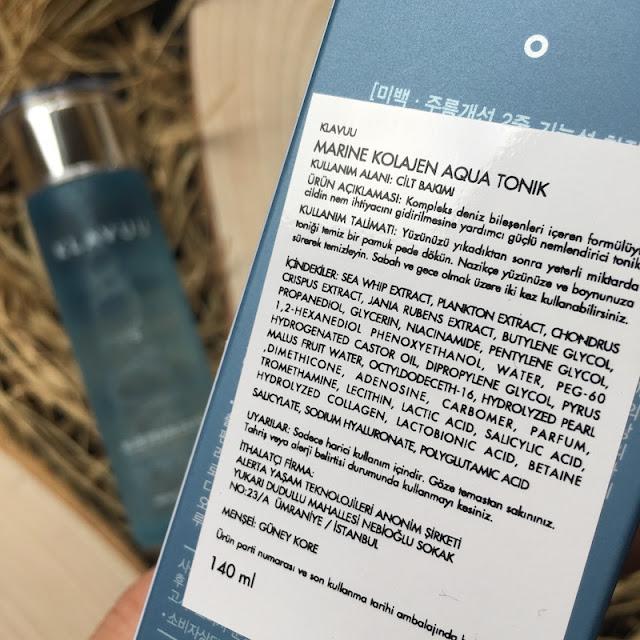 Klavuu Blue Pearlsation Marine Kolajen Aqua Tonik içerik