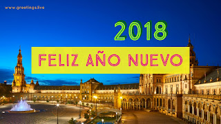 Happy new year 2018 in Spanish language