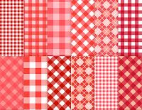 Kırmızı renkli pötikare kumaş desenleri