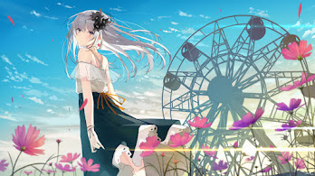 Anime, Girl, Flowers, Scenery, Sky, 4K, #314