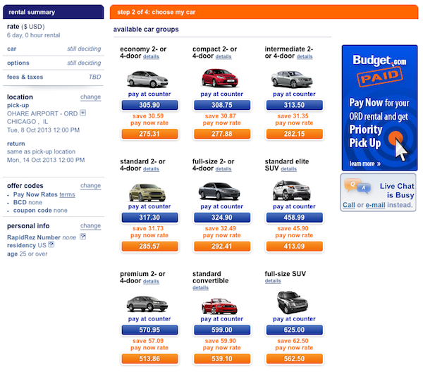 Budget Car Rental: Budget Rental Car Pay Now Option Budget