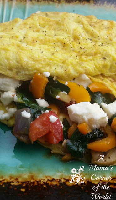 spinach, feta, pepper, red onion and tomato omelette