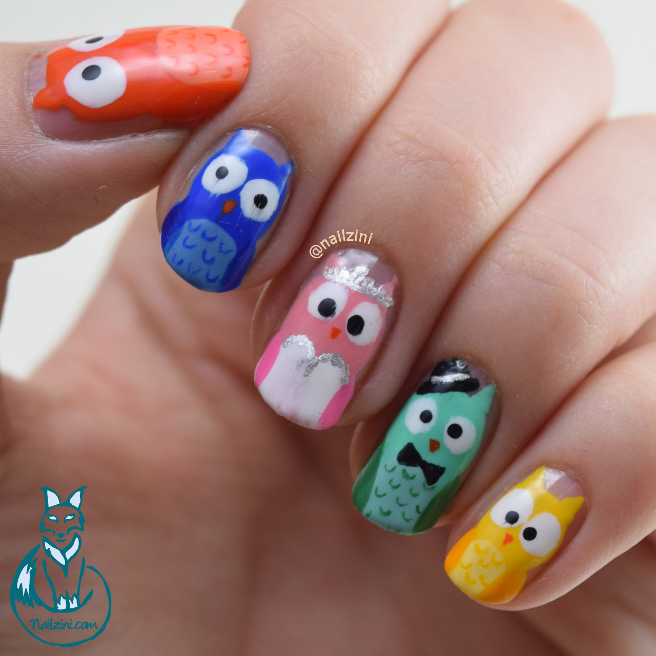 Cartoon Owls Wedding Nail Art