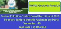 Central Pollution Control Board Recruitment 2016