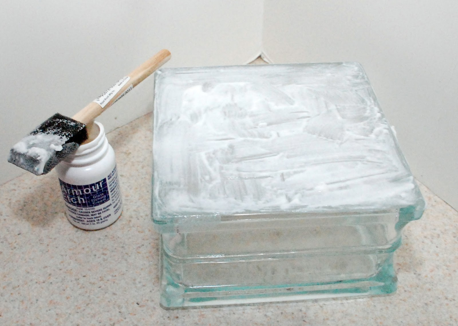 I used Armour Etch to give the glass a frosted look. I ...