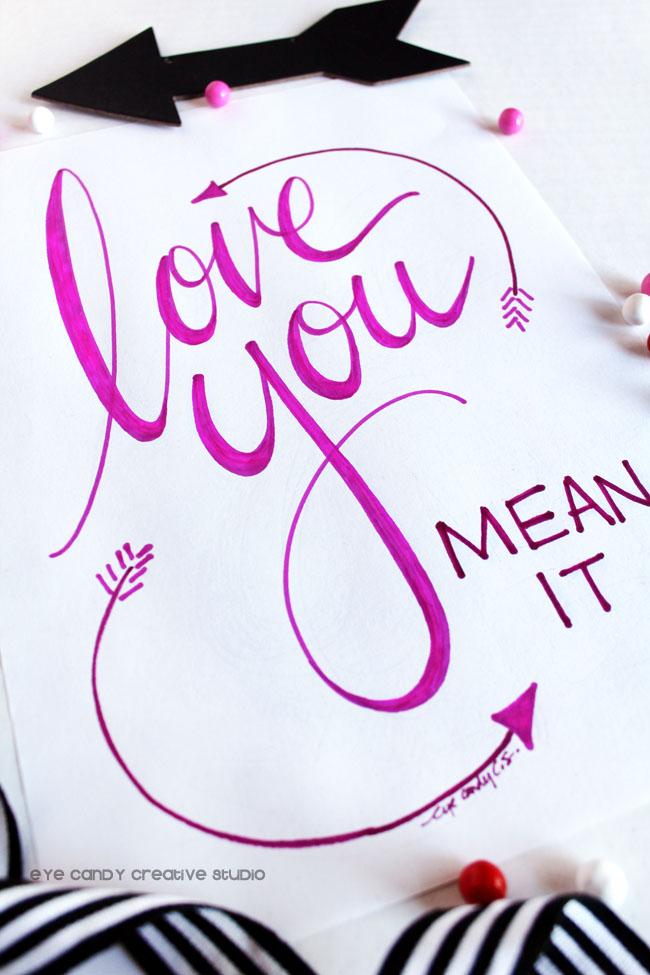 Hand Lettered Art Print Hand Lettering Valentines Art Love You Art Word