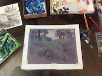 Step 1 Soft pastel painting of Kalatop Wildlife Sanctuary by Manju Panchal