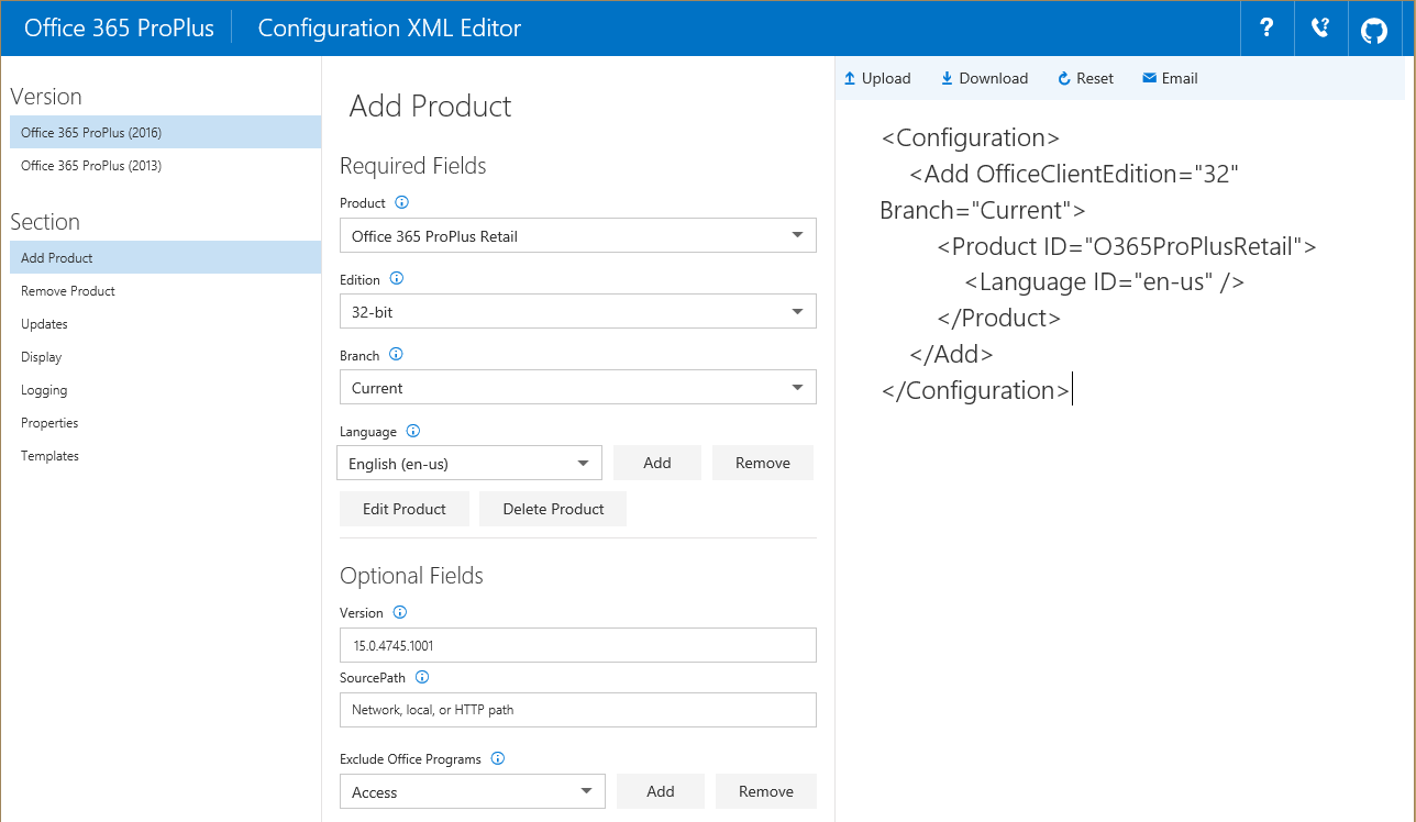 Article: Online Office 365 ProPlus Configuration XML Editor | ITNinja