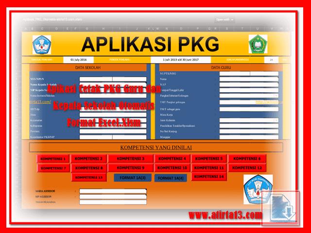 Apikasi Cetak PKG Guru dan Kepala Sekolah Otomatis Format Excel.Xlsm